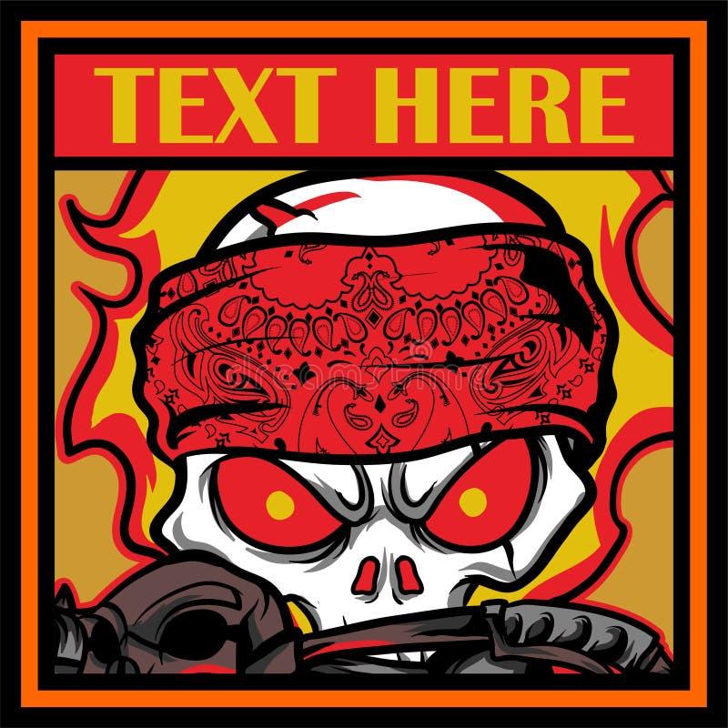 Head skull bandana ,hand drawing vector royalty free illustration