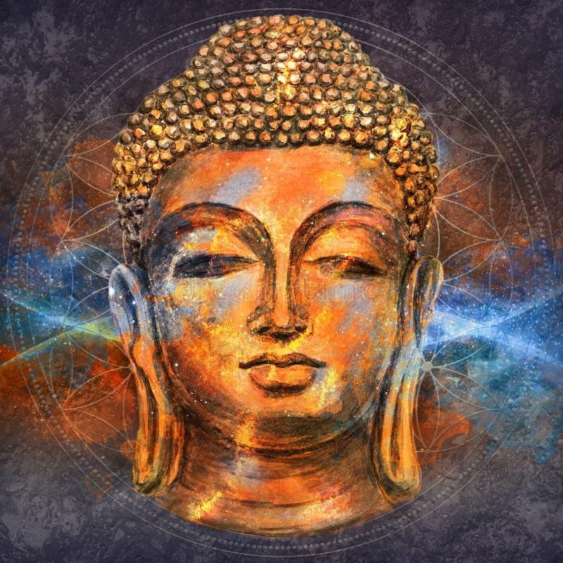 Head Smiling Buddha vector illustration
