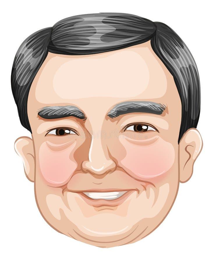 Head of a smiling old businessman. Illustration of a head of a smiling old businessman on a white background royalty free illustration