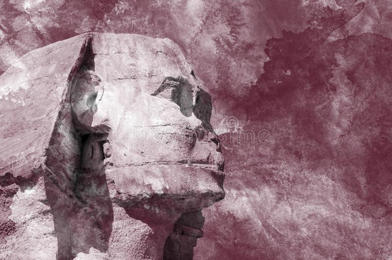 Head Sphinx egyptian aquarelle grunge background royalty free stock photography