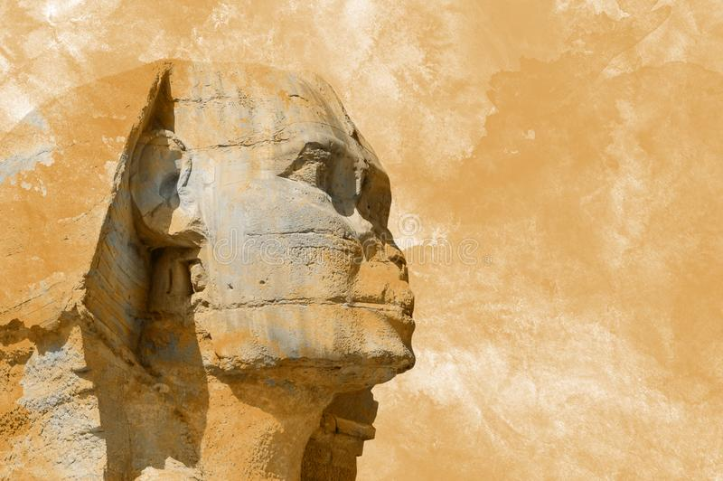 Head Sphinx egyptian aquarelle grunge background stock photo