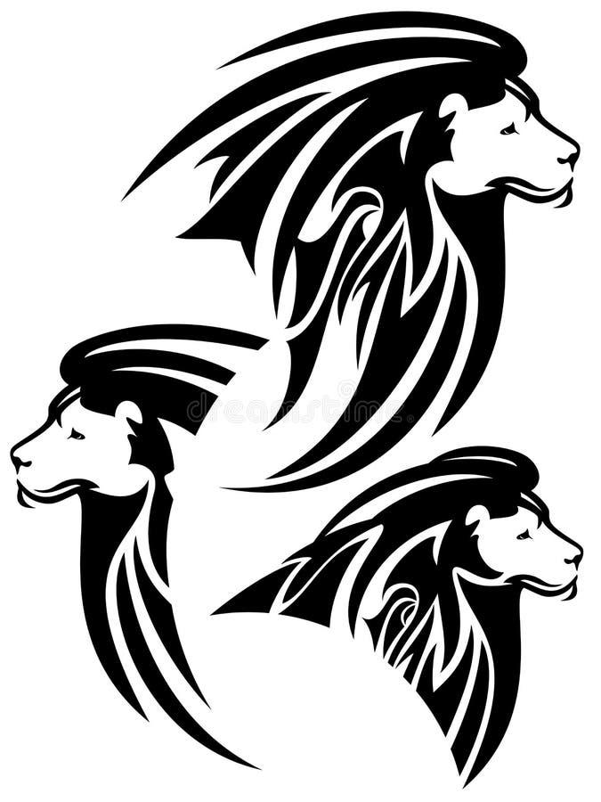 Head stam- design för lejon stock illustrationer