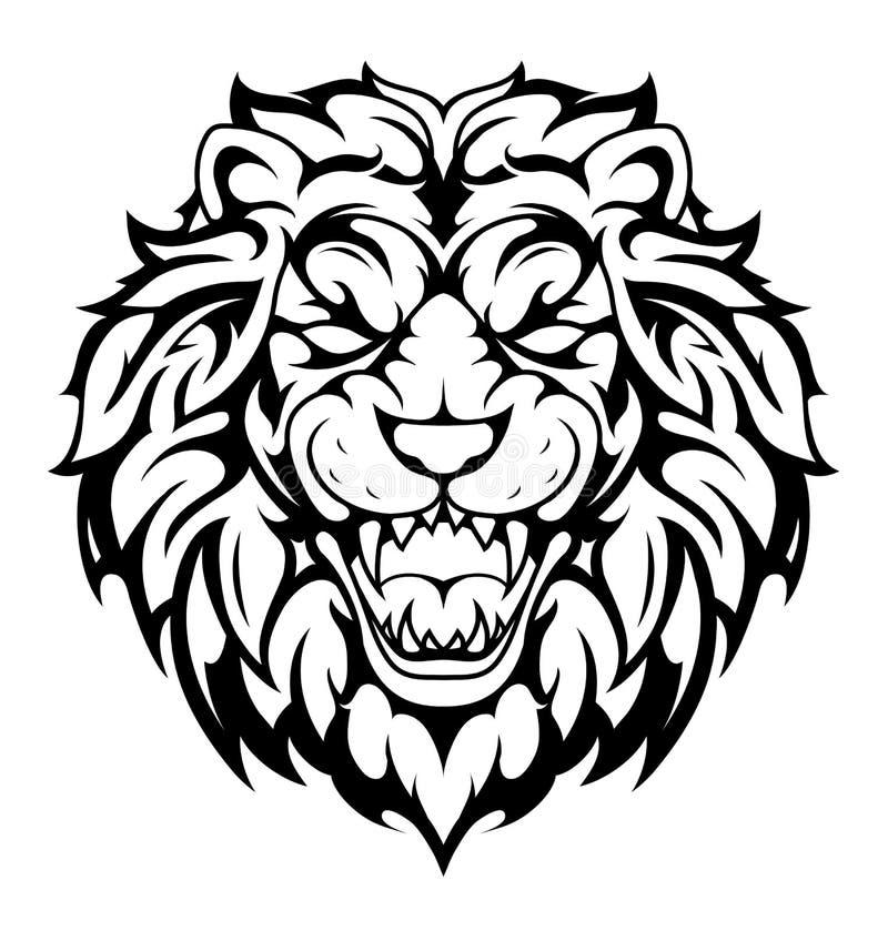 head stam- liontatuering royaltyfri illustrationer