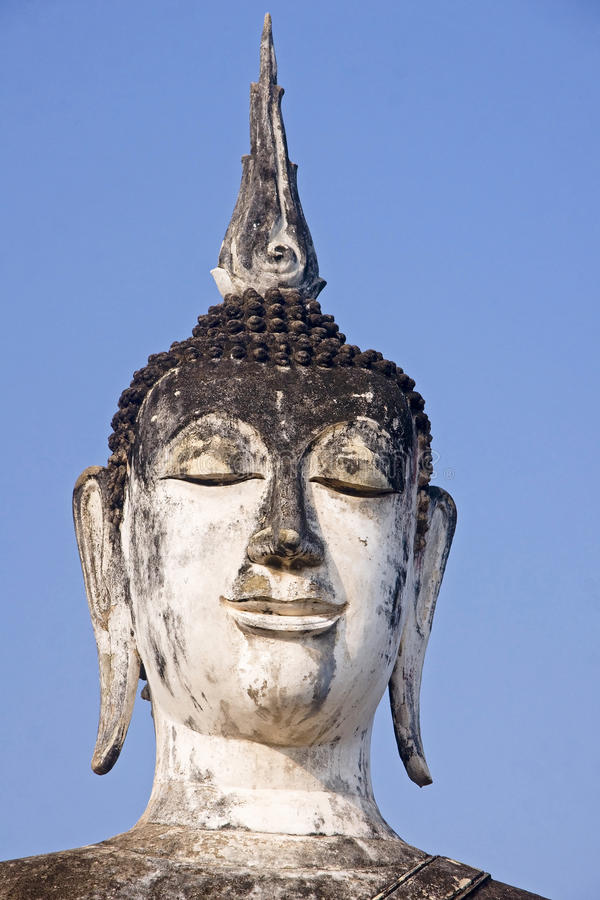 The head of a statue of Buddha in Old Sukhothai royalty free stock photo