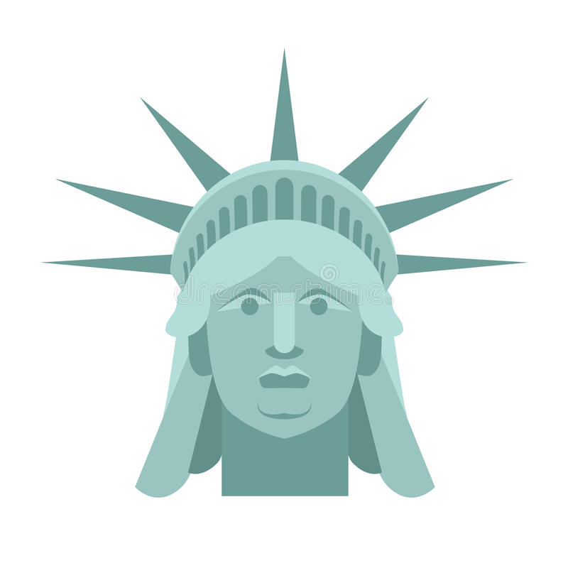 Head of Statue of Liberty. Face sculpture America. Monument in U. S architecture. National Historic Landmark in United States vector illustration