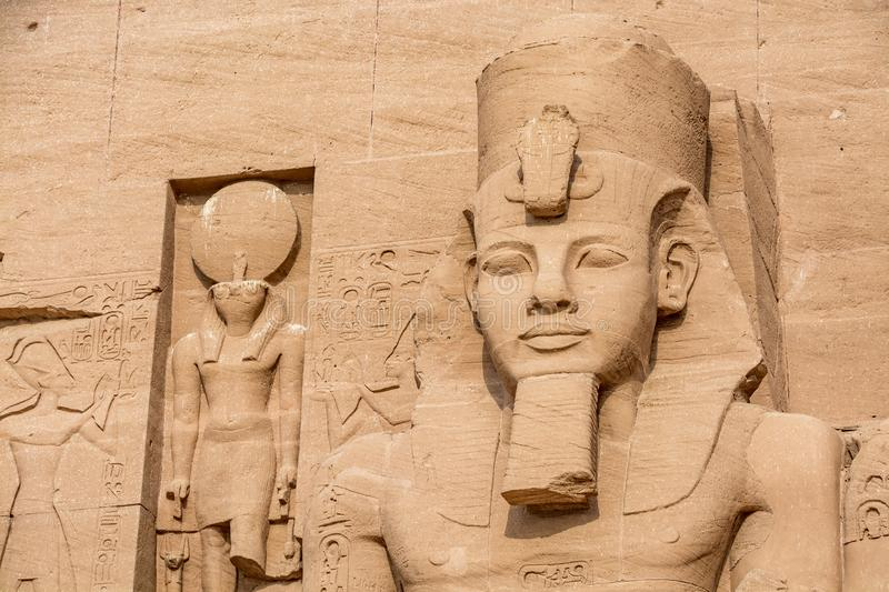 Head of the statue of Ramesses the Great, Abu Simbel temple, Egypt stock photo