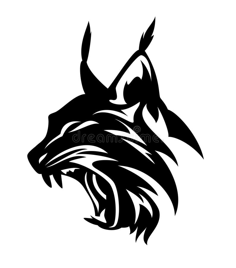Head svartvit vektordesign för lodjur royaltyfri illustrationer