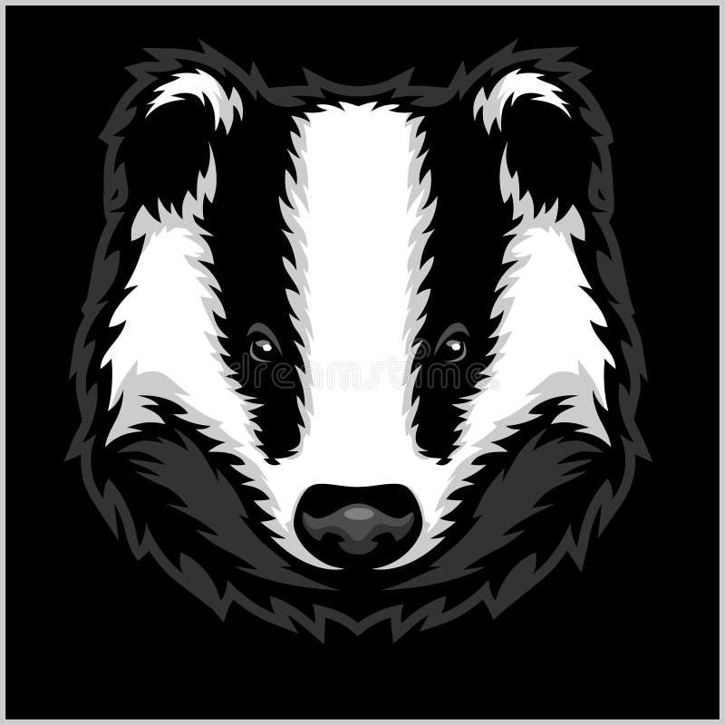 Head svartvitt för bäverskinn royaltyfri illustrationer