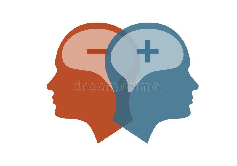 Head symbol för bipolär oordning stock illustrationer