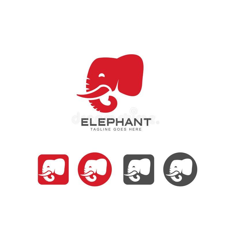 Head symbol för elefant och logovektor vektor illustrationer