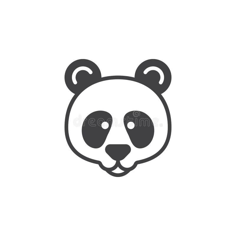Head symbolsvektor för panda, fyllt plant tecken vektor illustrationer