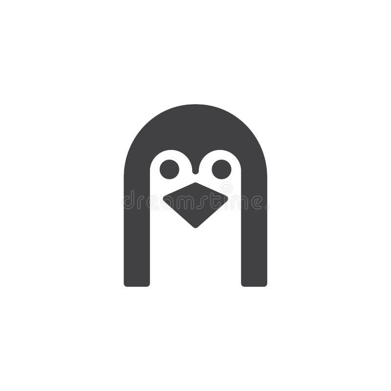 Head symbolsvektor för pingvin vektor illustrationer