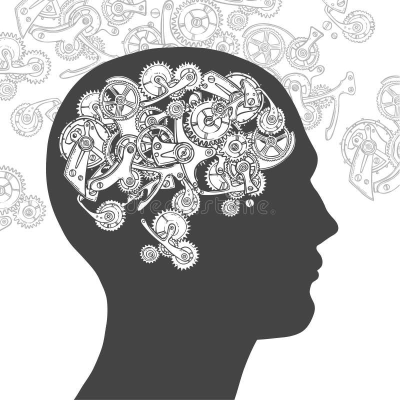 Head tänkande man för kugghjul stock illustrationer