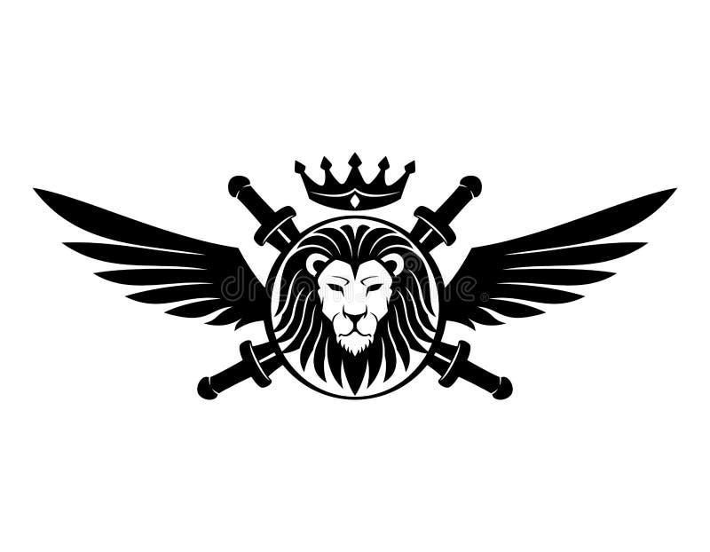Head tecken för lejon vektor illustrationer
