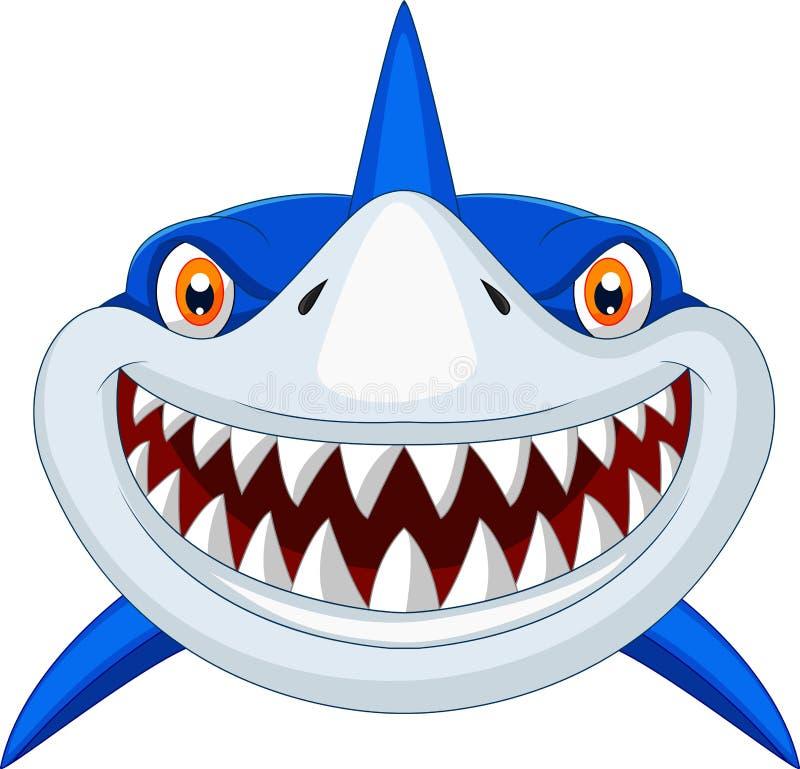 Head tecknad film för haj royaltyfri illustrationer