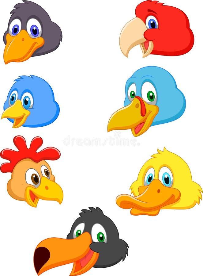 Head tecknad filmsamling för fågel royaltyfri illustrationer