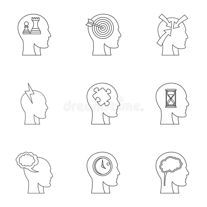 Head think icons set, outline style. Head think icons set. Outline set of 9 head think vector icons for web isolated on white background stock illustration