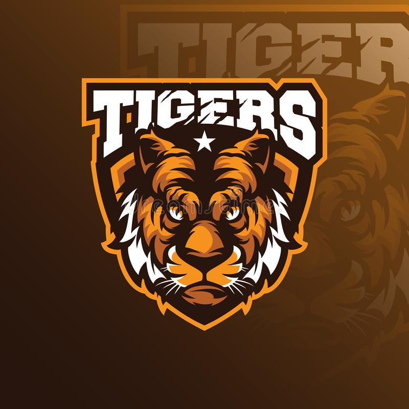 Head tiger mascot logo design vector with badge emblem concept stock illustration