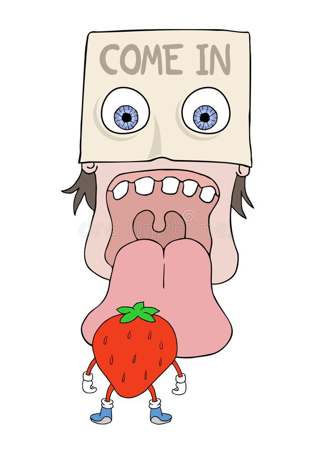Head trying to eat fruit stock illustration