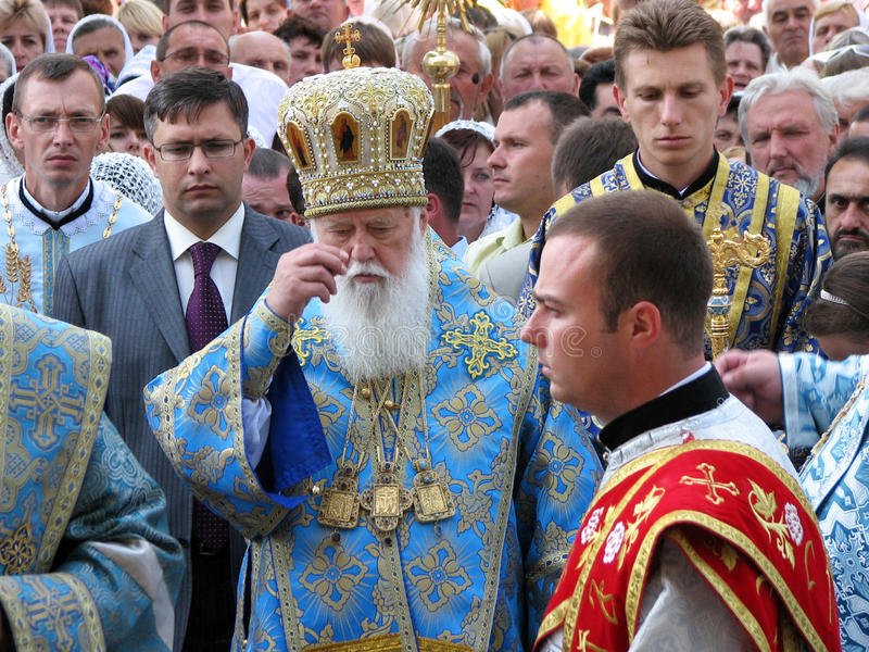 The head of the Ukrainian Orthodox Church Kiev Patriarchate Filaret_2. CHORTKIV - TERNOPIL - UKRAINE -16 July 2009. Patriarch of the Ukrainian Orthodox Church royalty free stock image