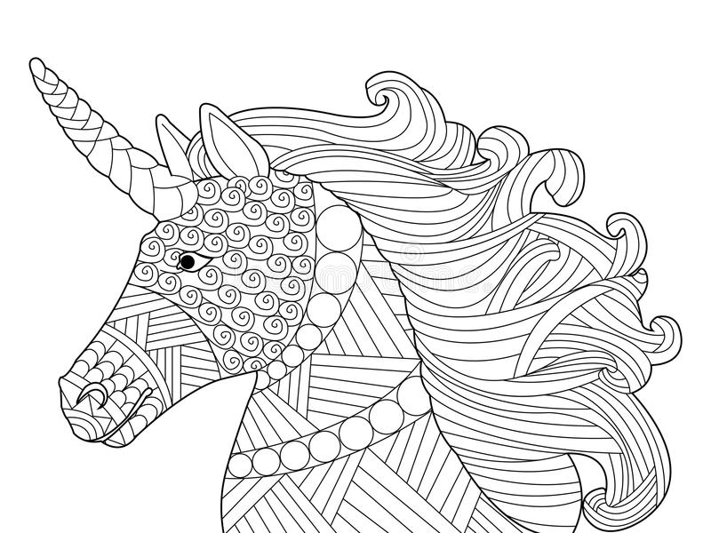 Head unicorn coloring vector for adults. Head unicorn coloring book for adults vector illustration. Anti-stress coloring for adult. Horse zentangle style. Black vector illustration