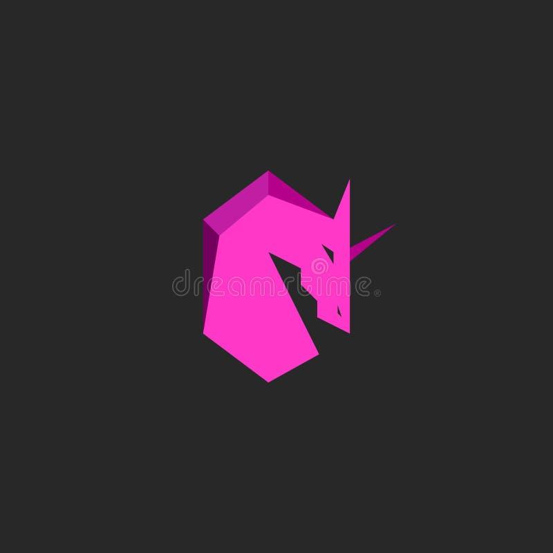 Head unicorn logo pink silhouette horse with horn mascot emblem t-shirt print design element template vector illustration