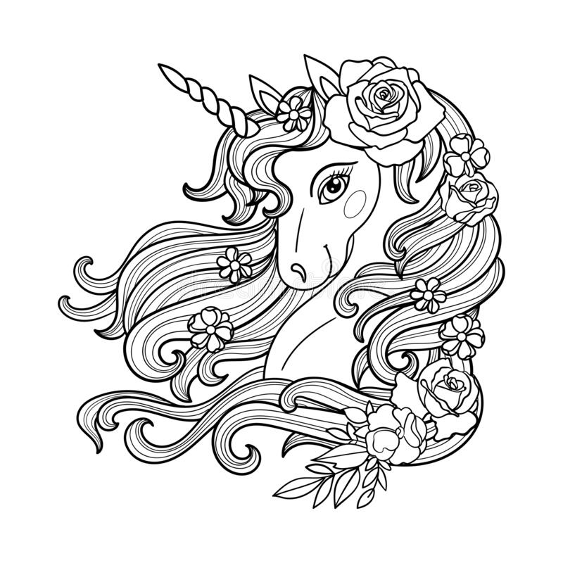 Unicorn Face Black White Stock Illustrations 704 Unicorn Face Black White Stock Illustrations Vectors Clipart Dreamstime