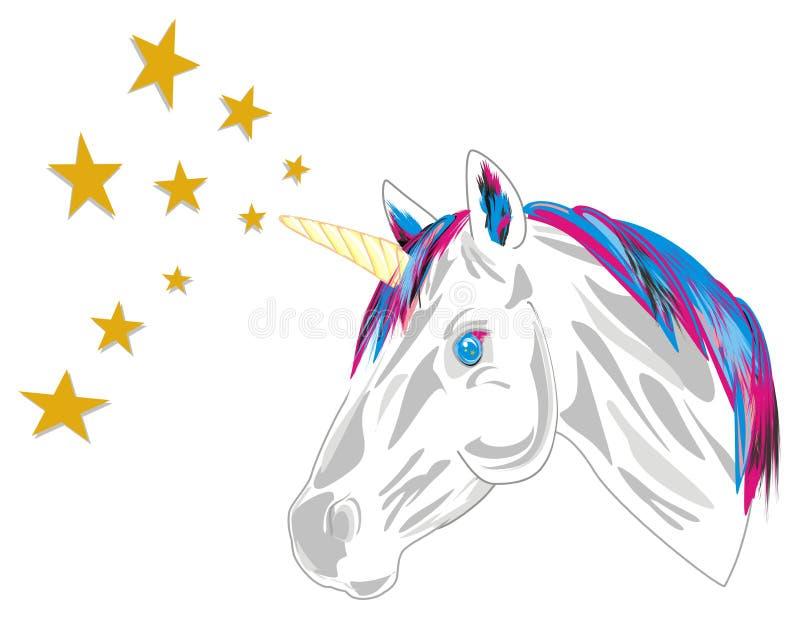 Unicorn and stars. Head of unicorn with many yellow stars royalty free illustration