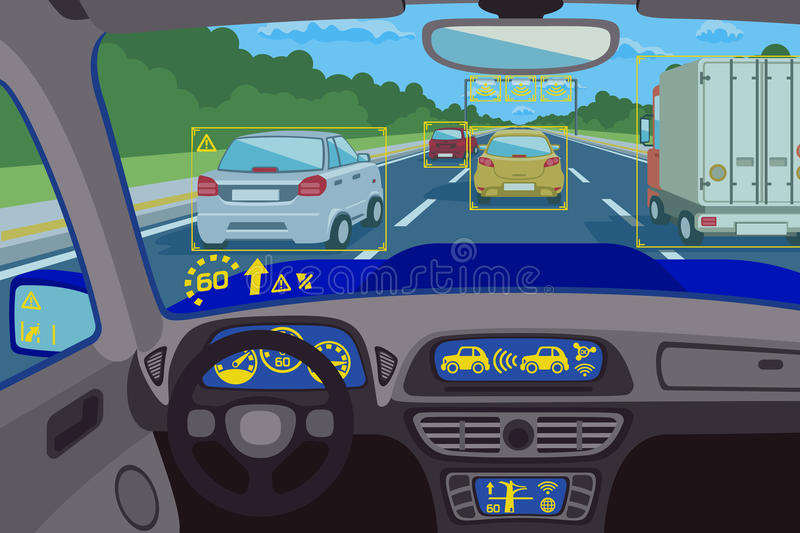 Head-up system technology in car. Vector illustration. Head-up system technology in car. Technology system control, future technology dashboard, digital head-up stock illustration