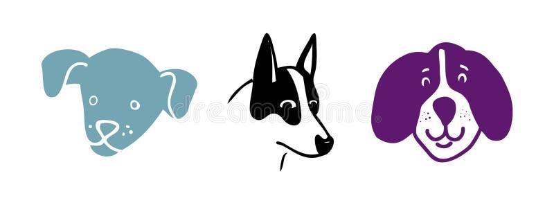 Head vänder mot den gulliga handen drog uppsättningen, valpen eller vovvar för hundteckningsvektor eller royaltyfri illustrationer