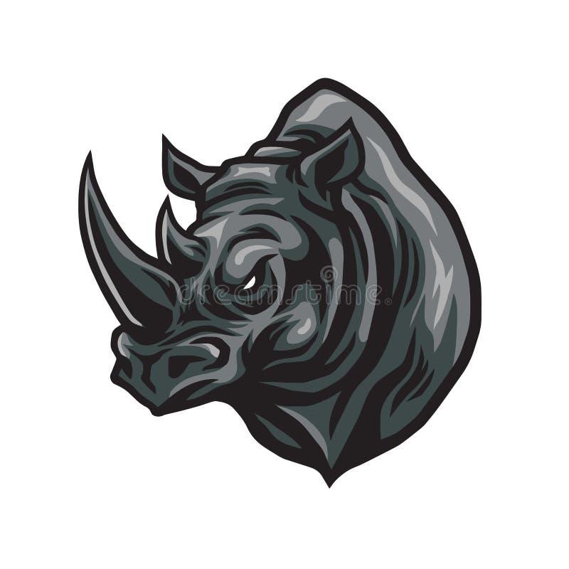 Head vektor Logo Design för noshörning royaltyfri illustrationer