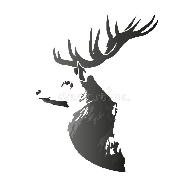 Head vektorbild för hjortar royaltyfri illustrationer