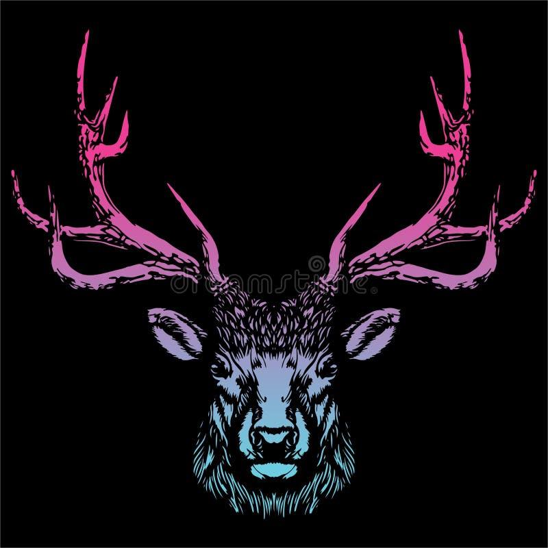 Head vektorbild för hjortar vektor illustrationer