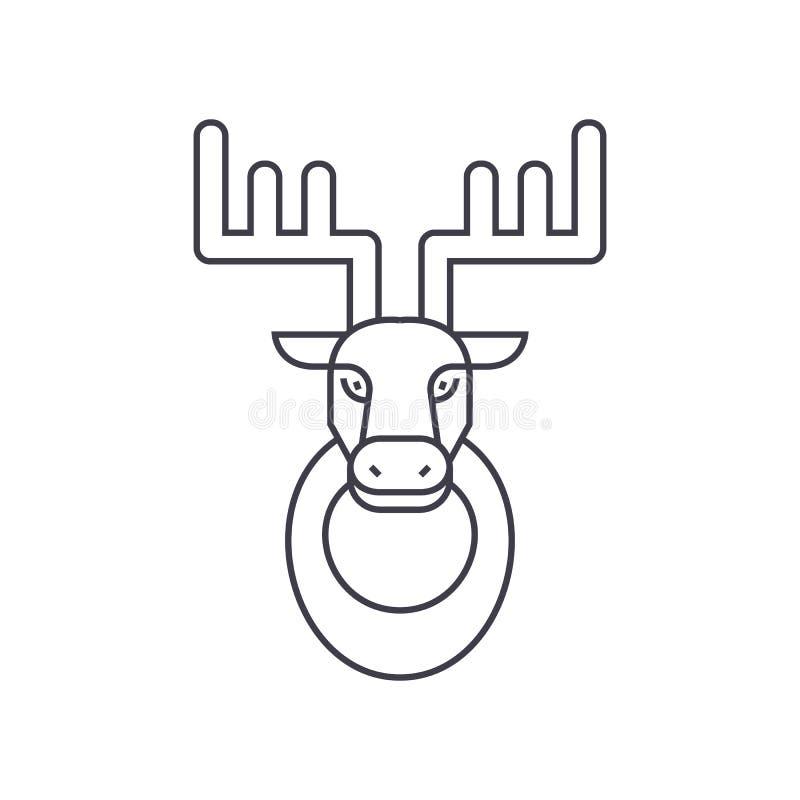 Head vektorlinje symbol, tecken, illustration för hjortar på bakgrund, redigerbara slaglängder vektor illustrationer