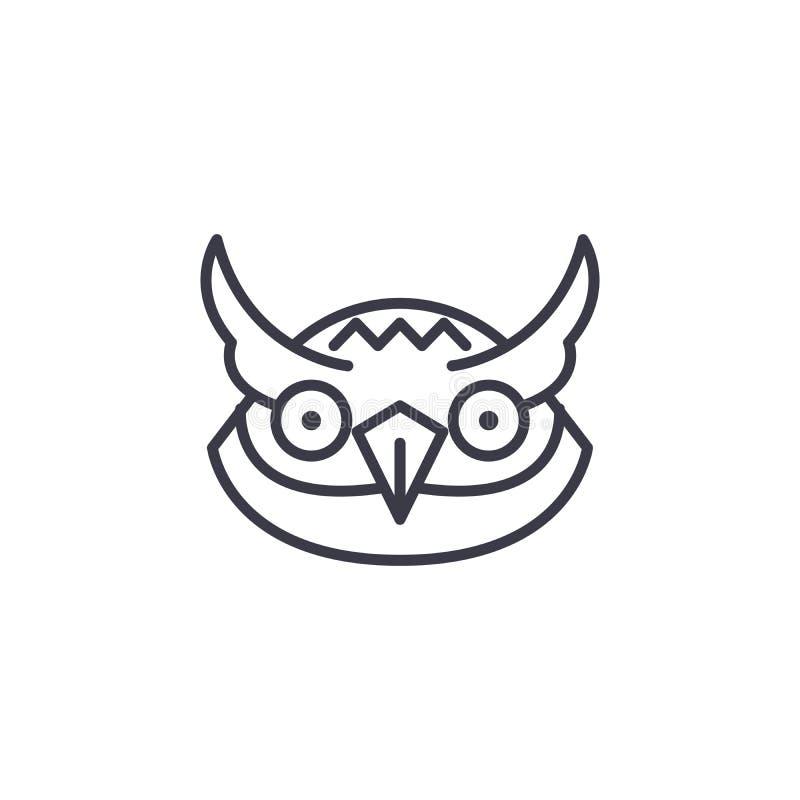 Head vektorlinje symbol, tecken, illustration för uggla på bakgrund, redigerbara slaglängder stock illustrationer