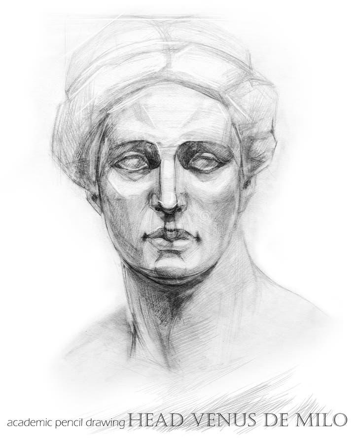 Head Venus de Milo. academic pencil drawing stock illustration