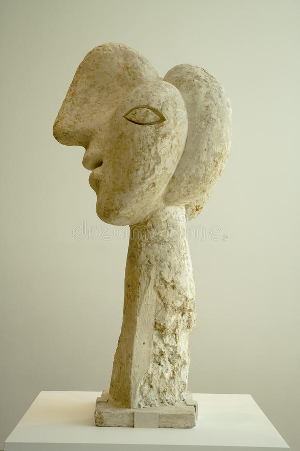 Head of a Warrior. Pablo Picasso sculpture - Head of a Warrior. Plaster, metal and wood royalty free stock photography