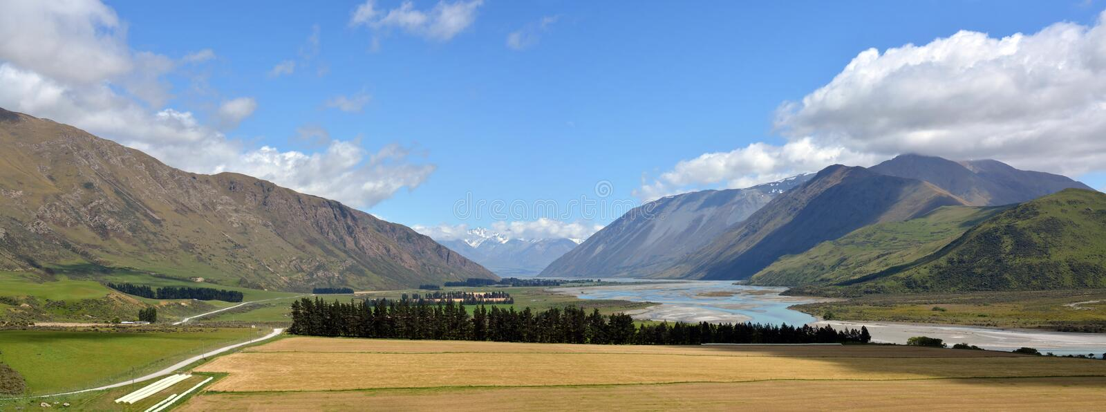 Head Waters of the Rangitata River Panorama New Zealand stock photography