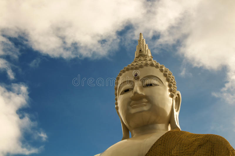 The head of the white Buddha stock images