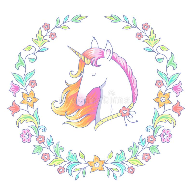 Unicorn in floral wreath stock illustration
