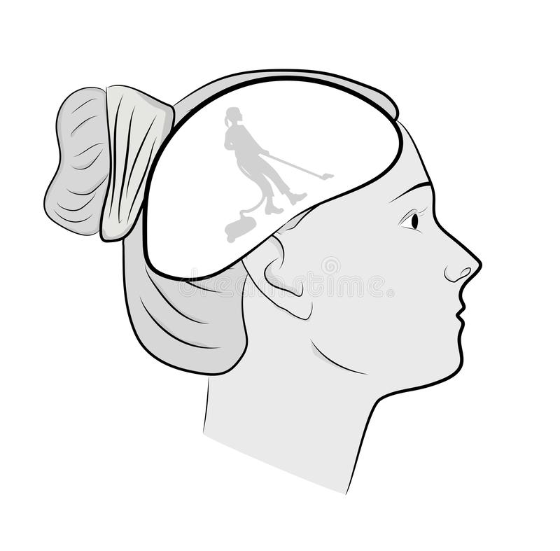 Head of a woman. cleaning in the head. putting things in order in thoughts. vector illustration. Head of a woman. cleaning in the head. putting things in order stock illustration
