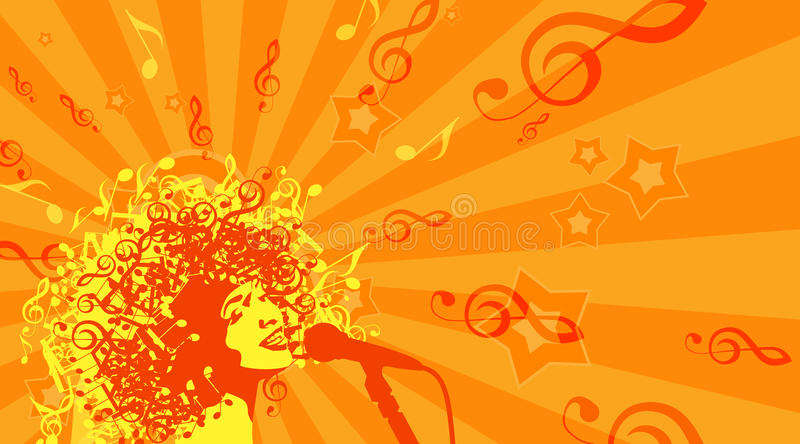 Head Of Woman With Hair As Musical Symbols On A Stock Vector