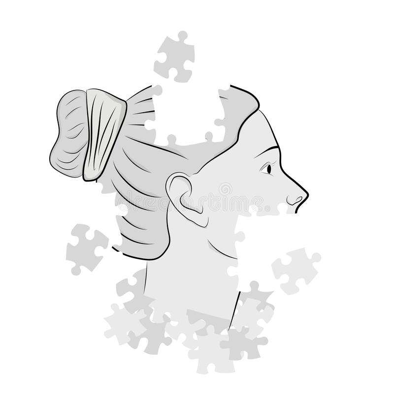 The head of a woman in puzzles. vector illustration. stock illustration