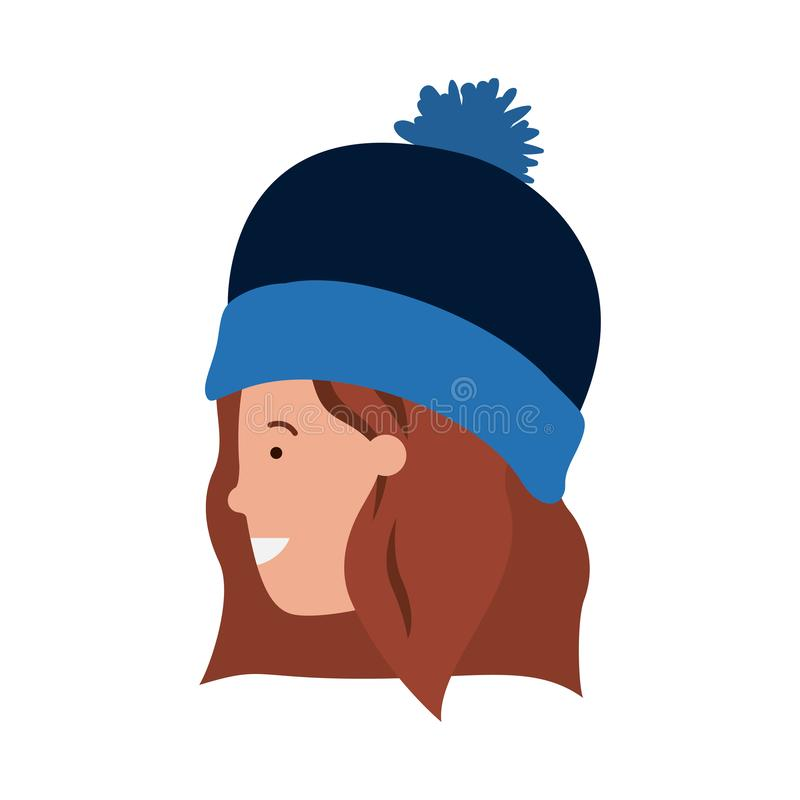 Head of woman with winter hat avatar character royalty free illustration