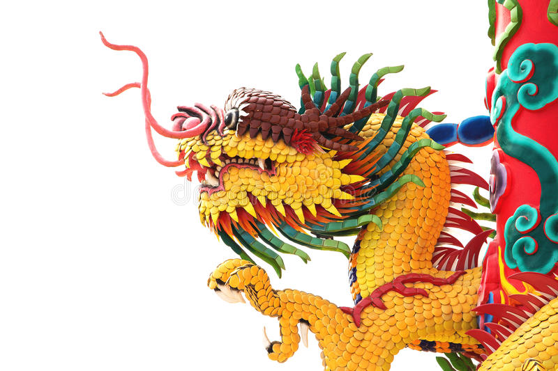 Download Head Of Yellow Dragon Statue Stock Image - Image: 23707087