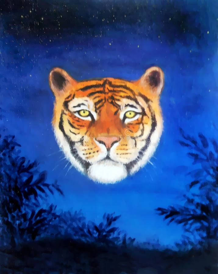 Head of young tiger on nocturnal sky, oil painting and graphic structure effect. Head of young tiger on nocturnal sky, oil painting and graphic structure effect vector illustration
