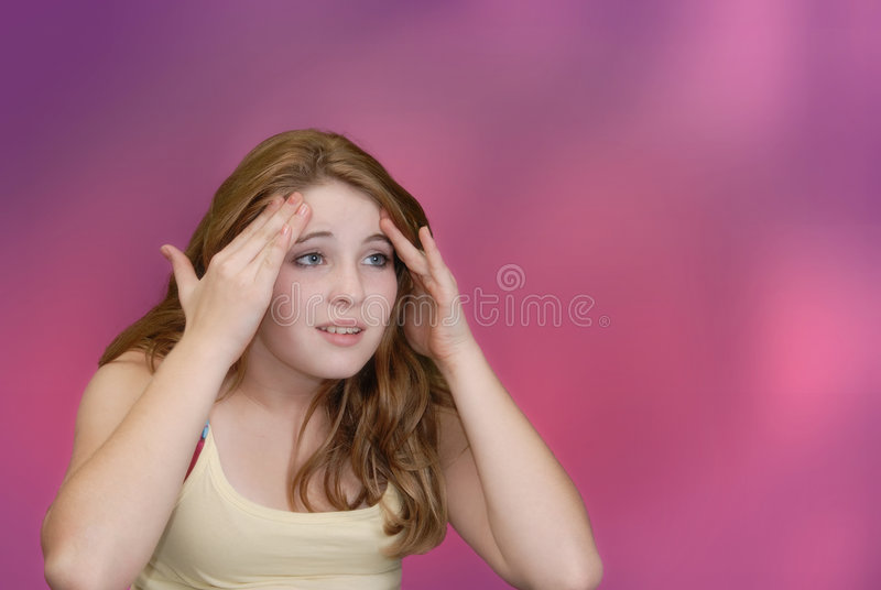 Download Headache stock image. Image of blue, face, girl, thinking - 1416551