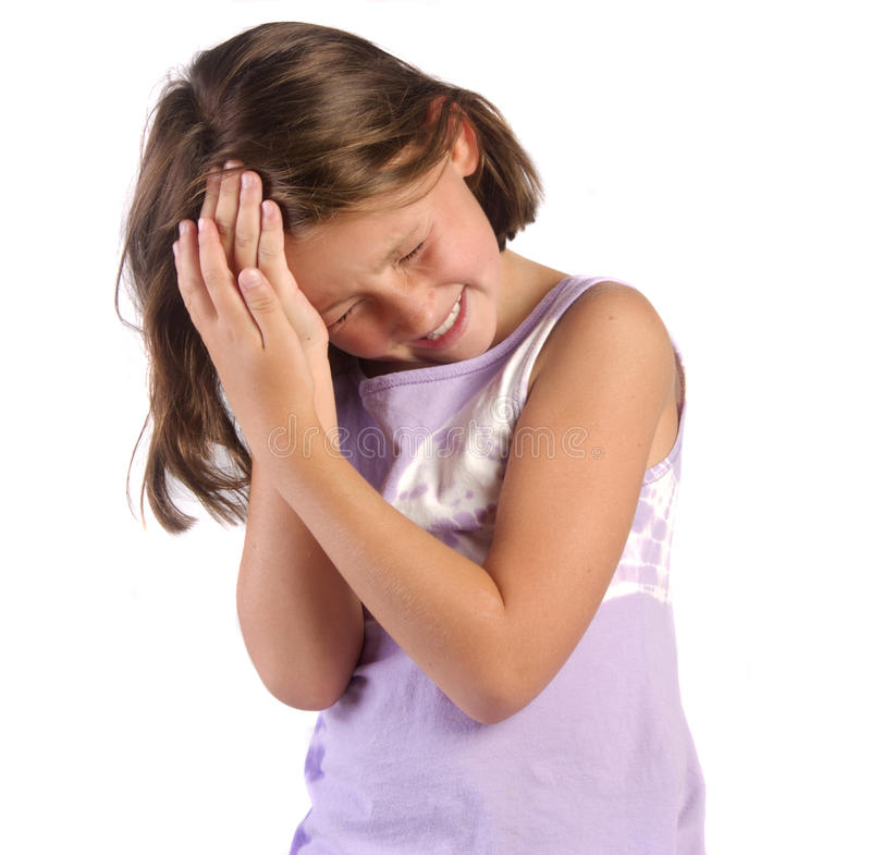 Headache. Young girl with a headache royalty free stock photography