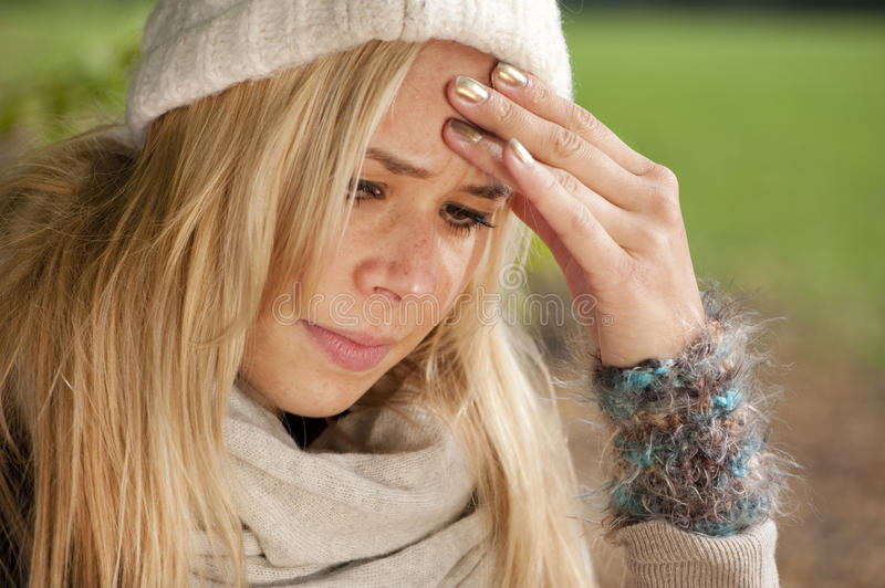Download Headache stock photo. Image of brunette, outdoors, allergy - 27241954