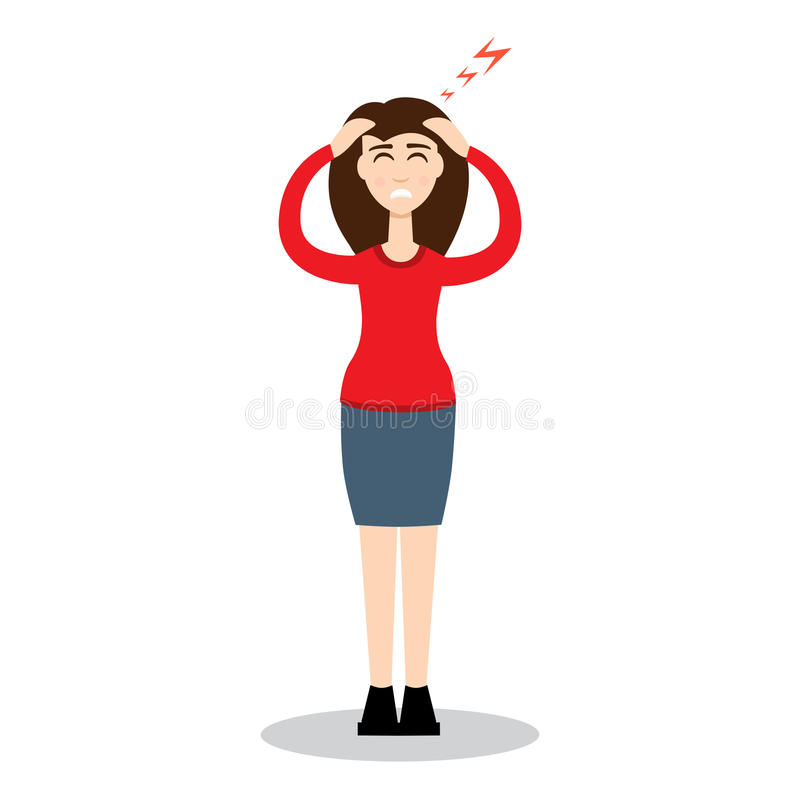 Free Headache Girl. High Blood Pressure Concept. Vector Illustration Stock Images - 95288964